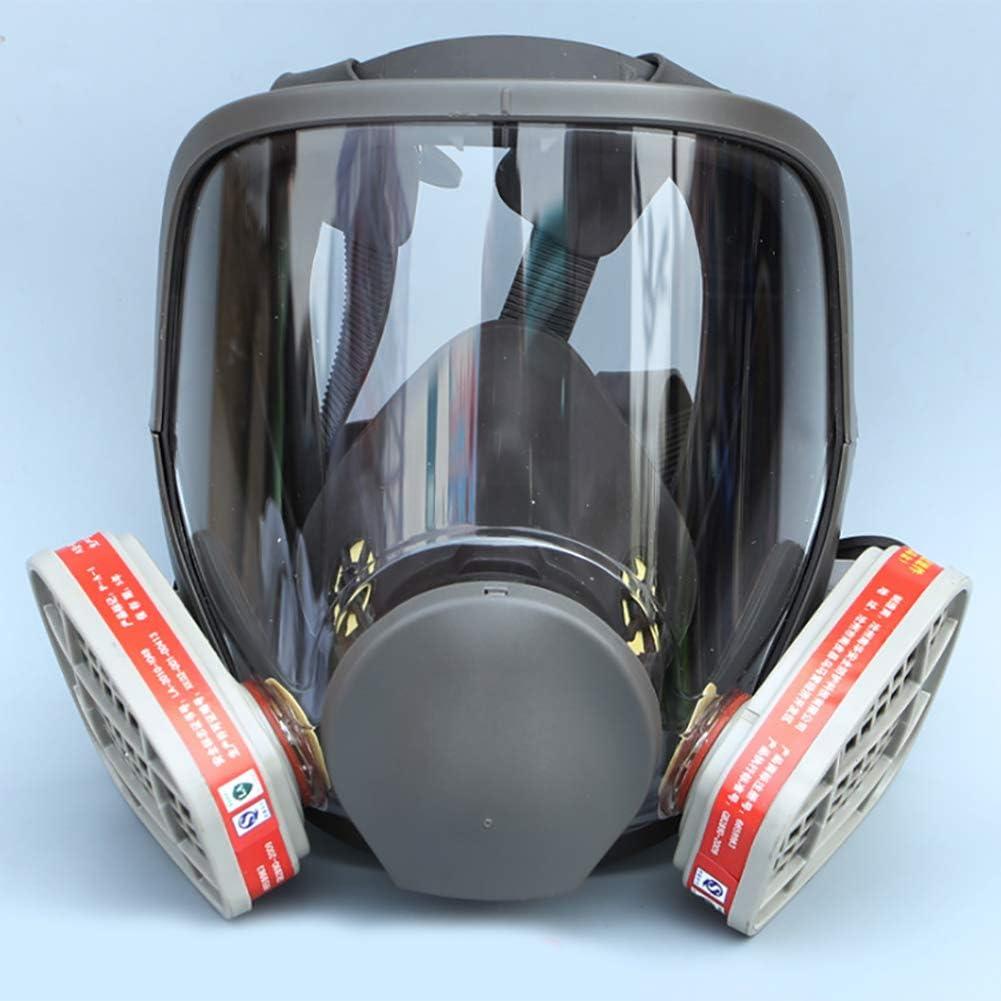 Dsti Máscara De Respiración Cara Completa Silicona Filtro De Protección Facial con Ventilador Protección Ante Gases de Incendio vapores y combustión,No. 3