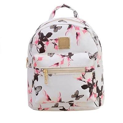 YJYdada Women Backpack Waterproof Fashion Causal Floral Printing Backpack Leather Bag Lightweight (white)