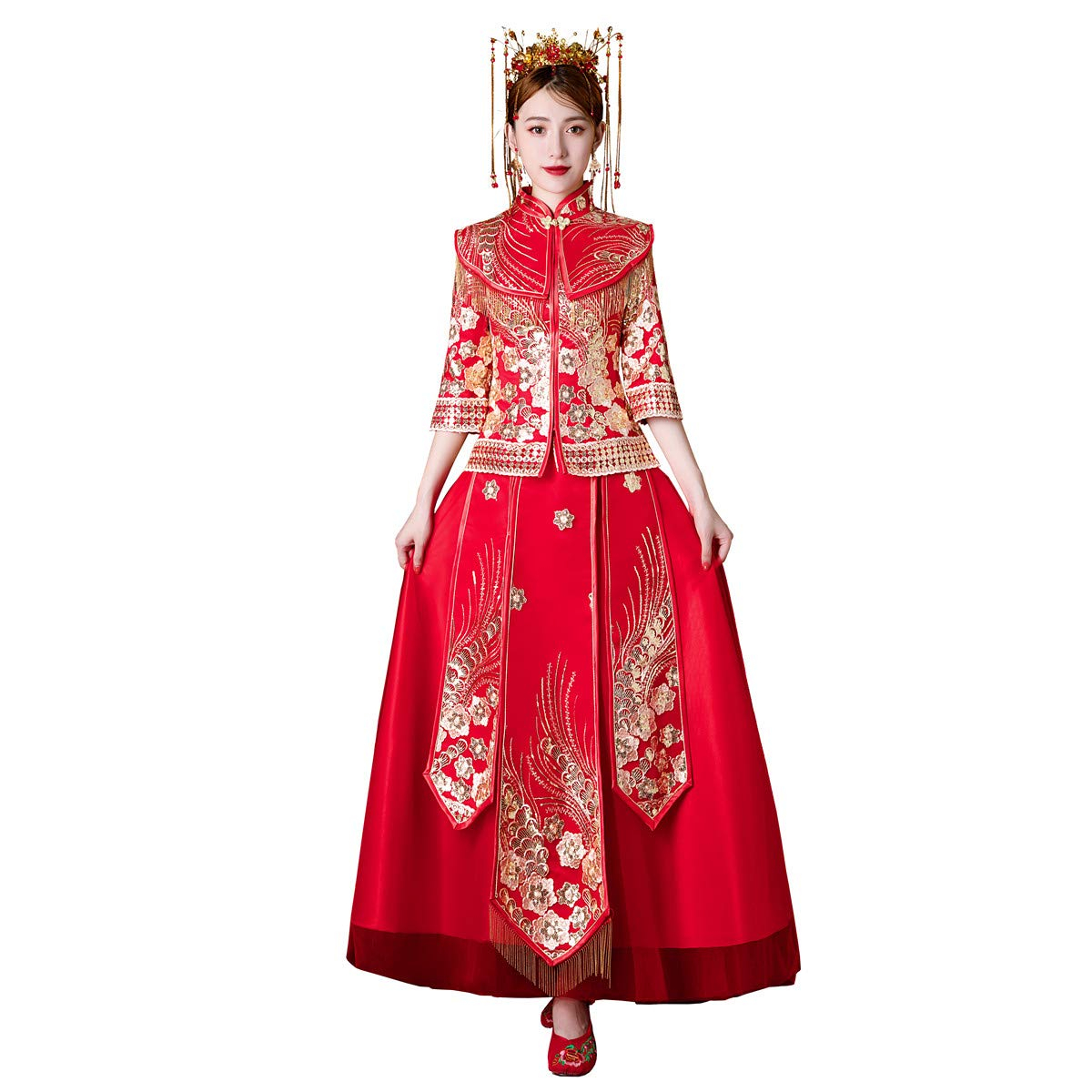 Shanghai Story Half Sleeve Chinese Wedding Dress Bridal Dress Qipao Xiuhe Suit xh629 Size 3XL