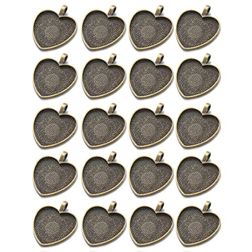 (IGOGO 20 PCS Heart Pendant Trays Pendant Blanks Cameo Bezel Cabochon Settings 25 mm 1 Inch Antique Bronze Color)