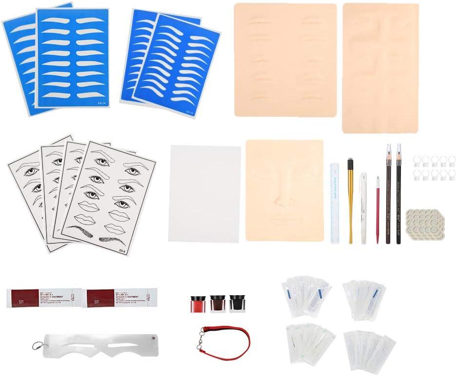 Kit de Microblading, Set completo de tatuaje de cejas practica de maquillaje permanente cejas, delineadores de labios, delineadores de ojos kit de práctica de tatuaje para salón y uso doméstico