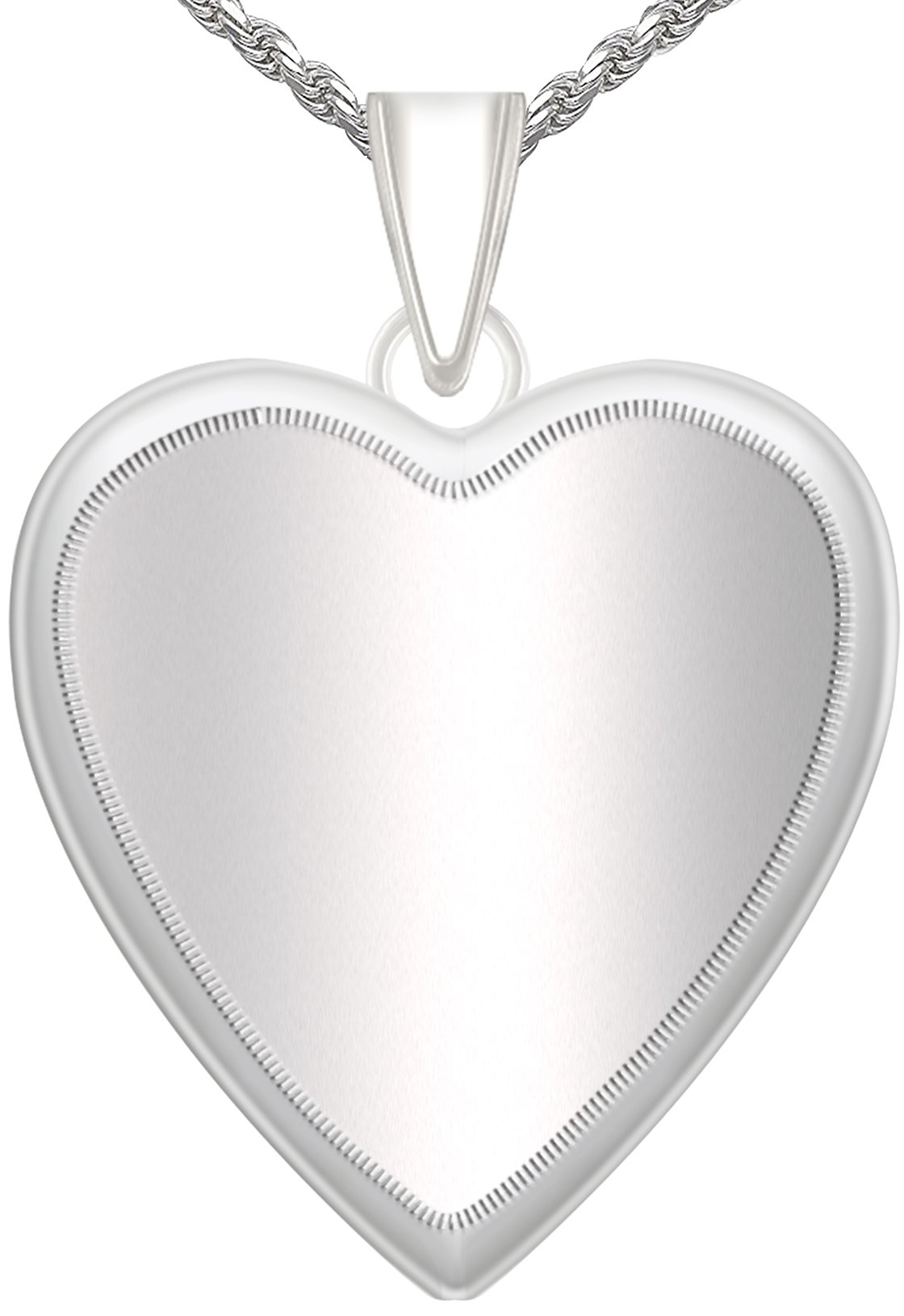 Women's 1in 0.925 Sterling Silver 2 Photo Heart Locket Pendant 2.3mm Rope Necklace, 20''