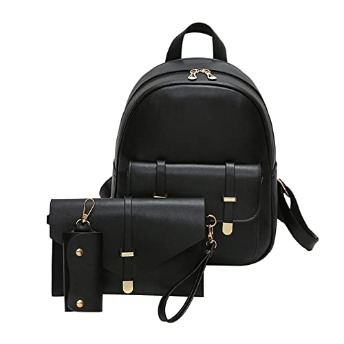 BESTVECH PU Leather Black Women s Backpack with Card Holder - 3 Pieces 87aadfb5f33f4