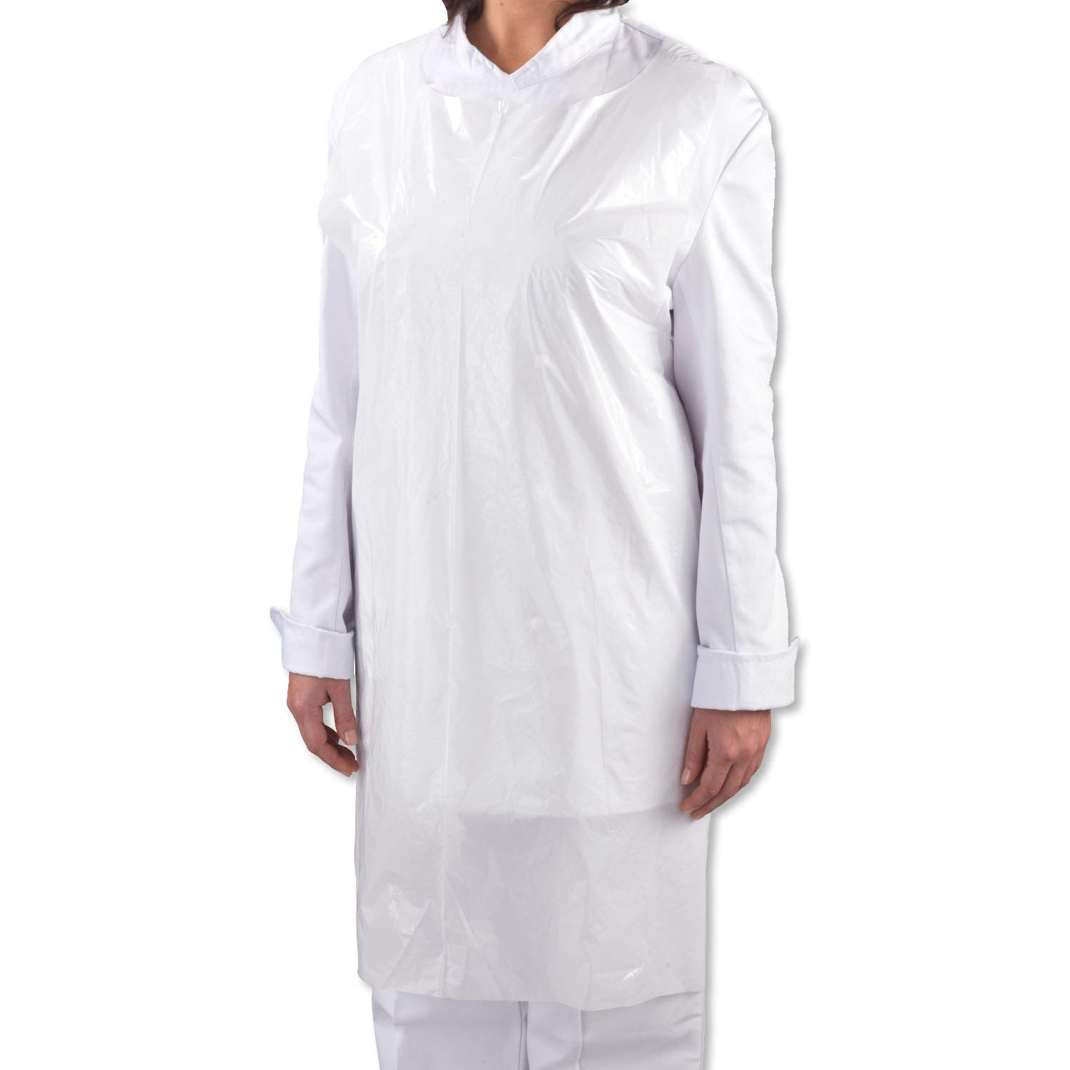 30 x Simply Direct White Poly Polythene Disposable Aprons 107cm x 69cm - 42 x 27 Choice of Quantities