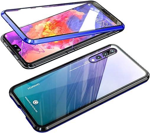 EUDTH Cover Huawei P20 PRO, Magnetica Case Vetro Temprato Custodia Protettiva Copertura Totale a 360 ° Flip Cover per Huawei P20 PRO -Blu Nero