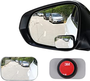 LivTee Blind Spot Mirror, Rectangle Shaped HD Glass Frameless Convex Rear View Mirror with wide angle Adjustable Stick for Cars SUV and Trucks, Pack of 2