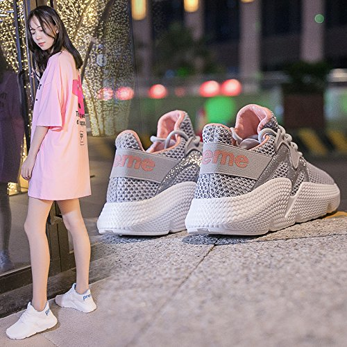 QQWWEERRTT Moda Verano nuevos Zapatos Deportivos Mujeres Respirables Ocasionales Harajuku Wild Running Shoes, 23, Gris 23|gris