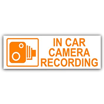 5 x Small In Car Camera Recording Stickers-See Colour Availability-Orange,Red or White Printed-CCTV Sign-Van,Lorry,Truck,Taxi,Bus,Mini Cab,Minicab-Security-Window,External,Tinted-Go Pro,Dashcam White on Clear - Window Version