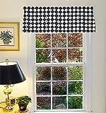 Appleberry Attic Window Treatment Curtain Valance Diamond Black & White For Sale
