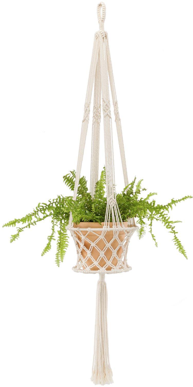 Mkono Macrame Hanging Planter Basket Plant Hanger Home Decor, up to 8 inch Flower Pot by Mkono