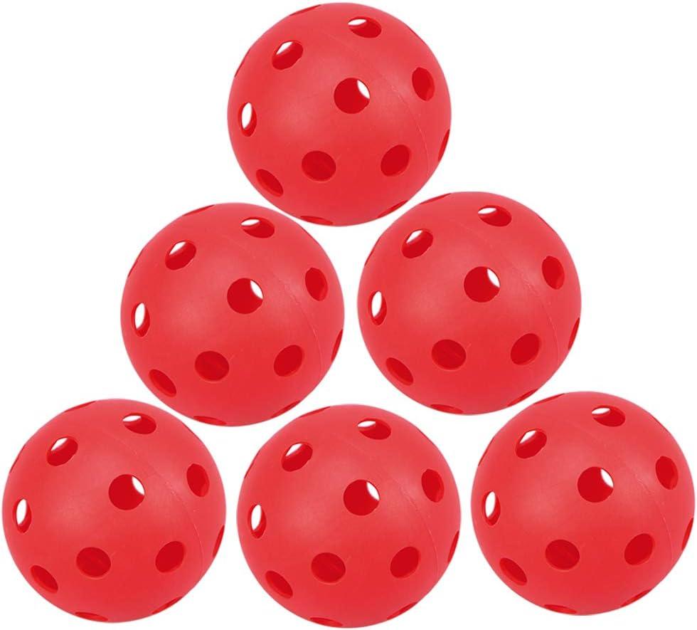 LIOOBO 6pcs Pelotas de Entrenamiento de Golf de plástico Flujo de Aire Bolas de Golf de Impacto Hueco Juguete de Pelota para niños para Conducir Campo de prácticas de Swing Uso en casa (Rojo)