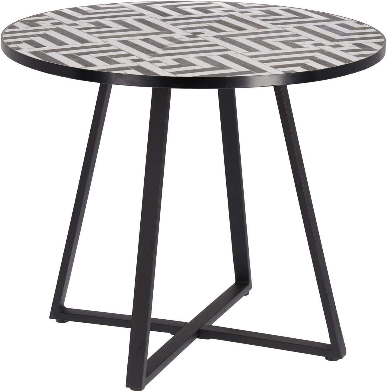Kave Home - Mesa de Comedor Tella Redonda Ø 90 cm con Mosaico de Azulejos Negro y Blanco para Interior y Exterior