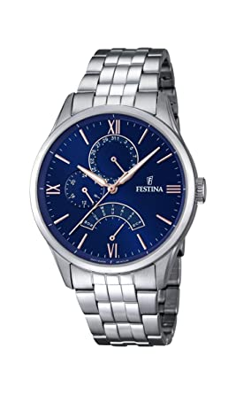 Festina F16822/3 - Reloj de Pulsera Hombre, Acero Inoxidable, Color Plateado: Amazon.es: Relojes