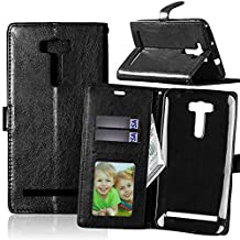 Asus ZenFone 2 Laser ZE601KL 6.0 inch Case,YiLin [Stand Feature] Flip Premium PU Leather Stand [Wallet Case] With Built-in ID Credit Card / Cash Slots Cover for Asus ZenFone 2 Laser ZE601KL 6.0 inch [Black]