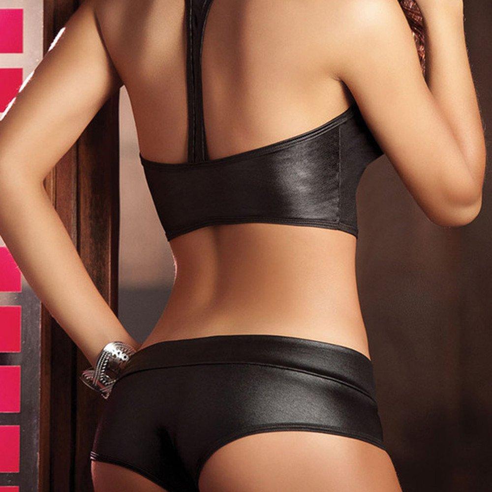 Jeramery Womens Sexy Linegrie for Sex Two Piece Top Panty Set Bandage Stripper Leather Underwear Sleepwear Black by Jeramery Lingerie (Image #3)