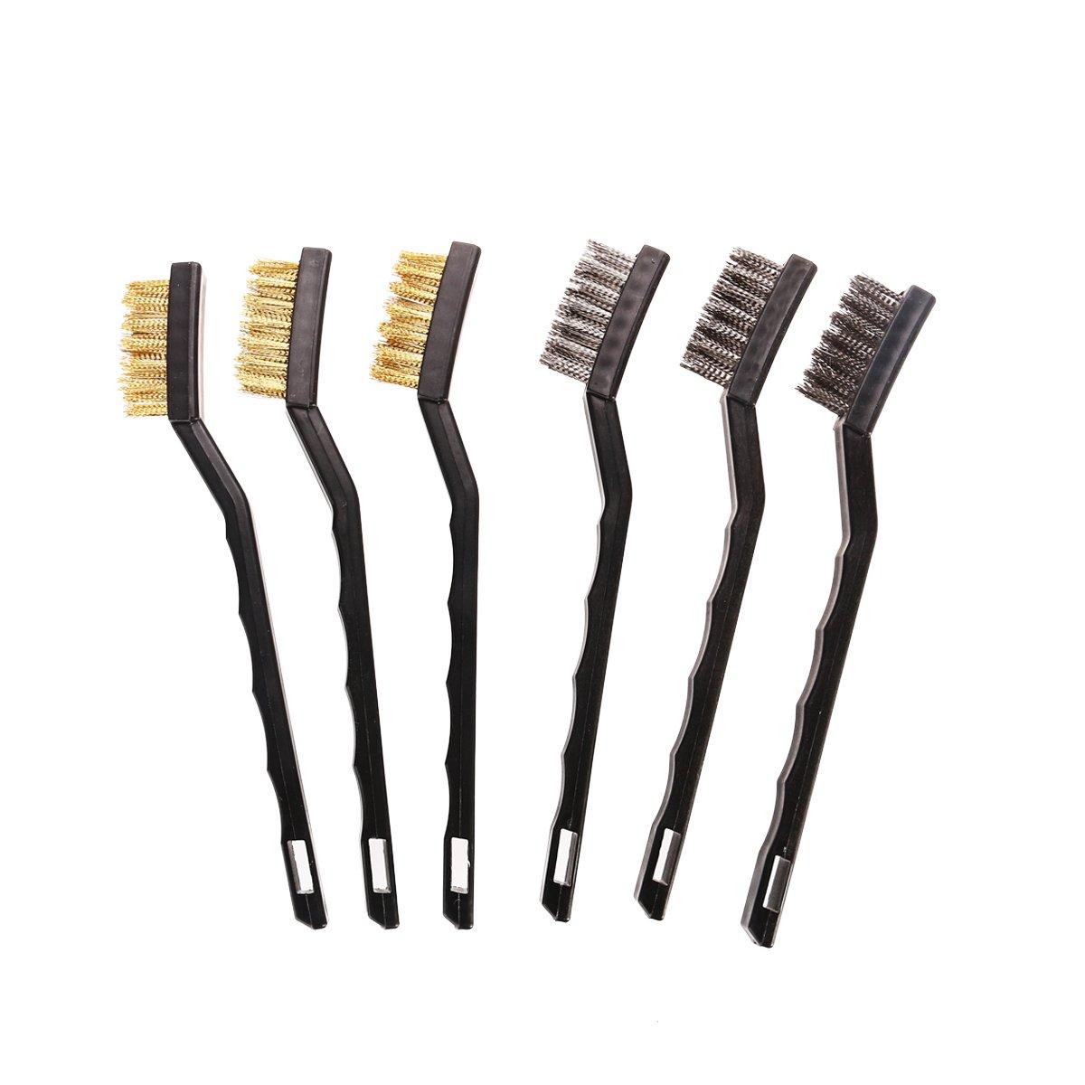 UEETEK Ensemble de brosse à fourche Mini 6pcs pour nettoyage de scories et de rouille de soudure (3 * acier inoxydable + 3 * laiton)