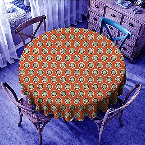 ScottDecor Geometric Outdoor Picnics Floral with Warm Color Palette Flowers and Retro Dots Surreal Art Banquet Round Tablecloth Vermilion Cream Sage Green Diameter 36""