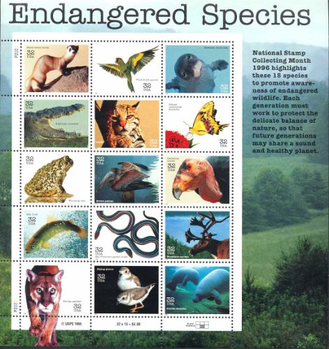 Endangered Species Collectible Sheet of Fifteen 32 Cent Stamps Scott 3105 By (Endangered Species Stamps)
