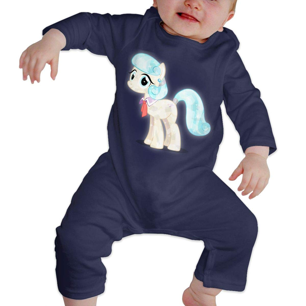 Baby Crew Neck Long-Sleeve Pure Color Romper Crystal Pony Jumpsuit
