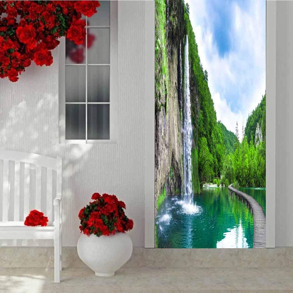 3D Door Wallpaper Murals Wall Stickers, Waterfall bei Mountain Lake und Green Park Croatia, Vinyl Removable Decals für Zuhause Decorative W30.3 X L78.7 Inch