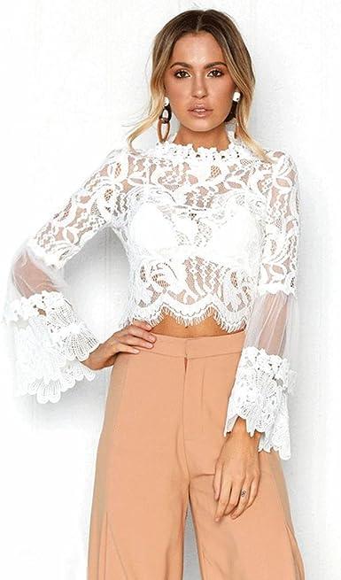 QinMM Blusa Corta de Encaje Mujer, Camiseta Transparente Camisa de Manga Larga Tops: Amazon.es: Ropa y accesorios