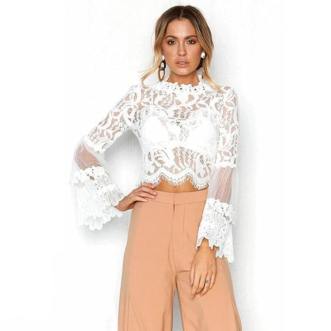 QinMM Blusa Corta de Encaje Mujer, Camiseta Transparente Camisa de Manga Larga Tops (Blanco