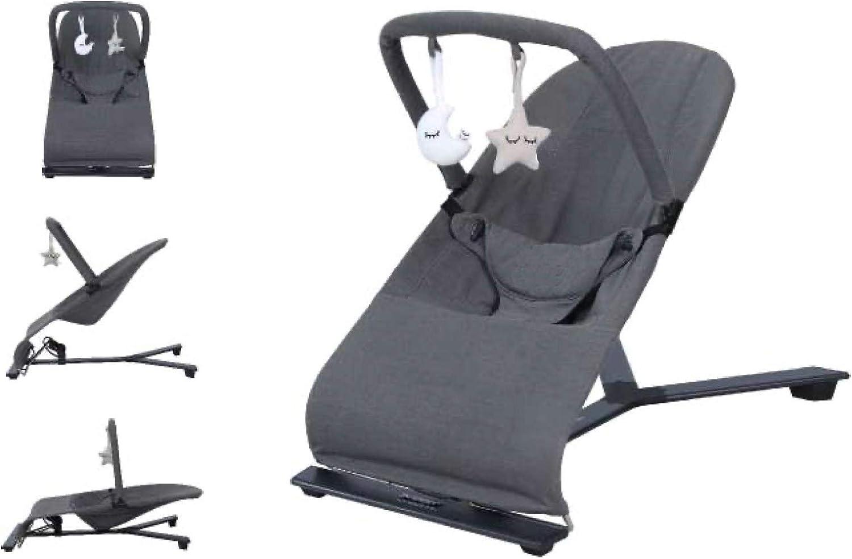 Babify Hamaca de Bebé Serenity - Ajustable en 3 posiciones - Barra de Juguetes - Plegado Compacto - Color Gris Oscuro