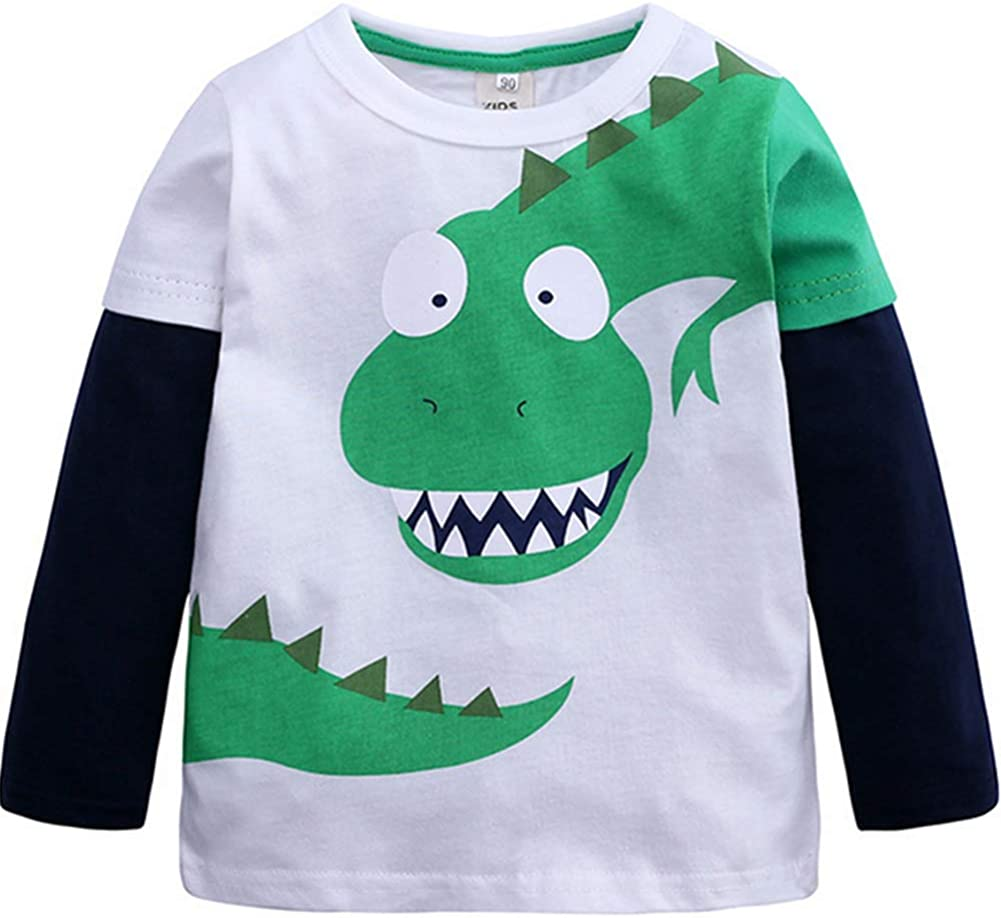 Children Kid Clothes Baby Boy Girl Long Sleeve Cartoon Print Splice Tops T Shirt