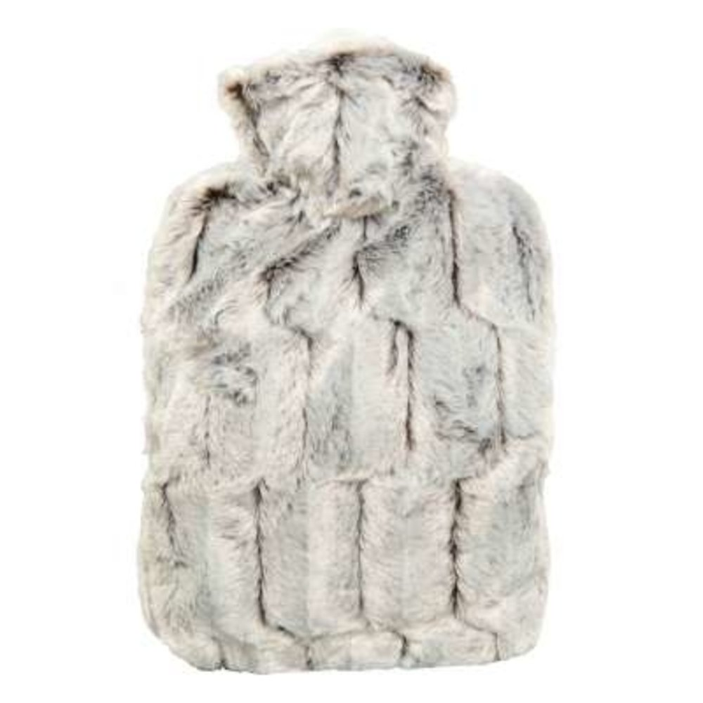 Hot Water Bottle with Cover - Hot Cold Pack Made of Burst Resistant Thermoplastic with Fleece Sleeve Helps Relieve Muscle Aches & Pains, Menstrual Cramps, Flu Symptoms (1.8L Faux Fur, Brown/Silver) by Hugo Frosch