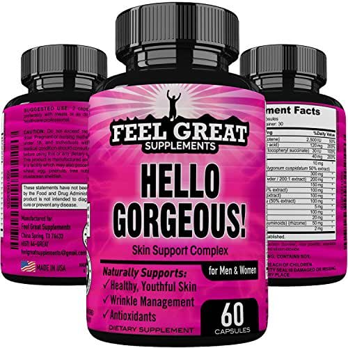 HELLO GORGEOUS Skin Hair and Nails Supplement for Women & Men, Daily Anti Aging Skin Care Product-Healthy Youthful Hair Skin and Nails Vitamins A, Vitamin C, Vitamin E, Collagen Hyaluronic Acid & More