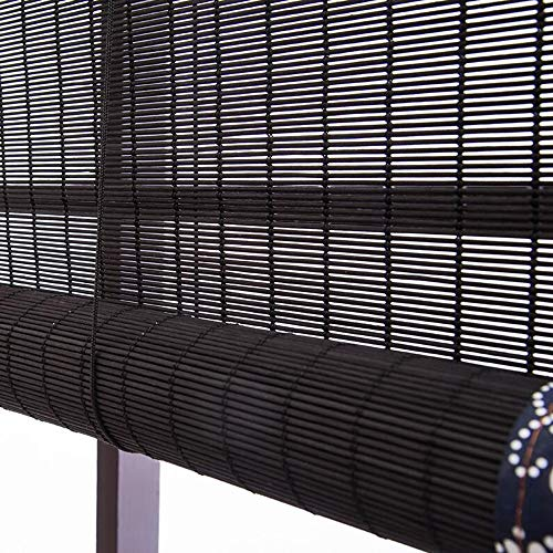 Jcnfa-Roller Shades Bamboo Roller Blinds, 80% Shading Rate Curtains, Blackout Shade, Right Pull Up and Down, Hemming Curtains, External Roller Blind (Color : Black, Size : W 145H 180cm)