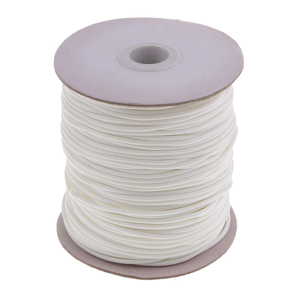 Beige SM SunniMix 80 Meters 2mm Braided Waxed Cotton Rope Cord Bracelet String Multi-Purpose DIY Crafts