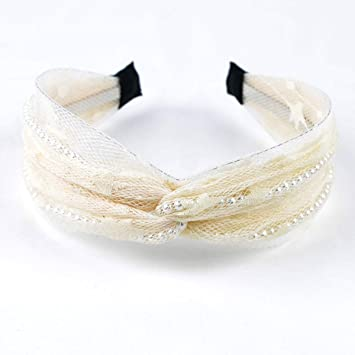 Vintage Bohemian Lace with Pearl Knotted Headband Knot Hairband Hair Accessories,wave