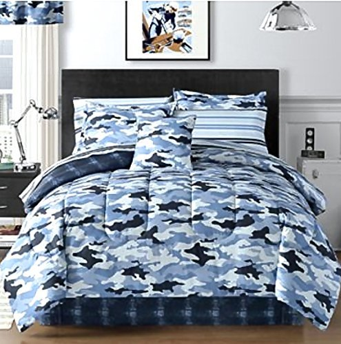 Sky Blue Camouflage Camo Army Boys Twin Comforter Set (6 Piece Bed In A Bag) + HOMEMADE WAX ()