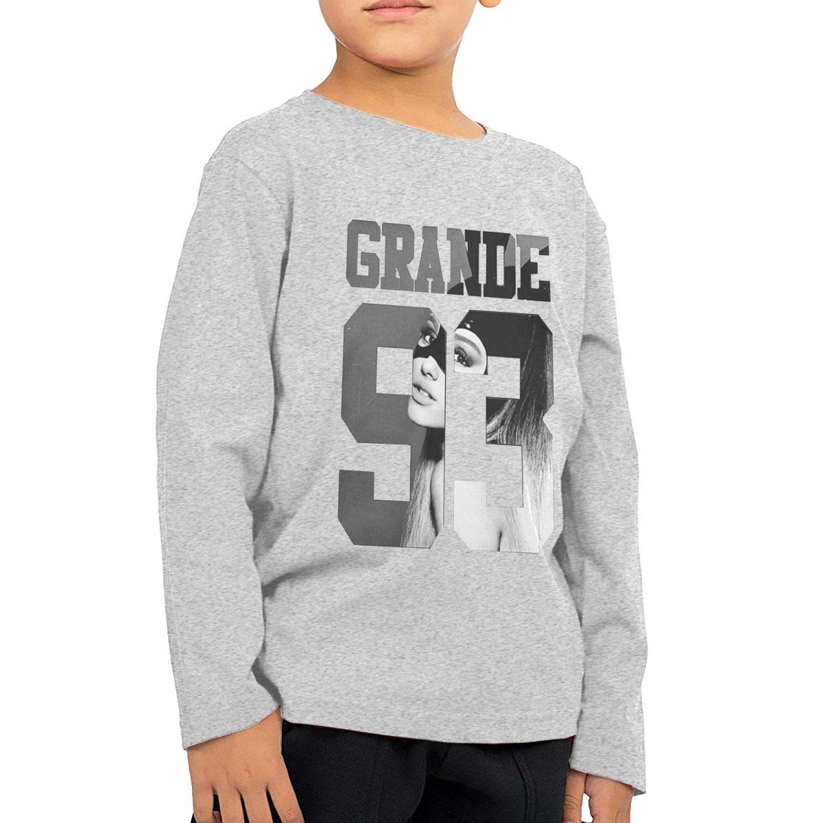 2-6 Year Old Childrens Long Sleeve T-Shirt Vintage Unique Long Sleeve T Ariana Singer Grande Logo Gray