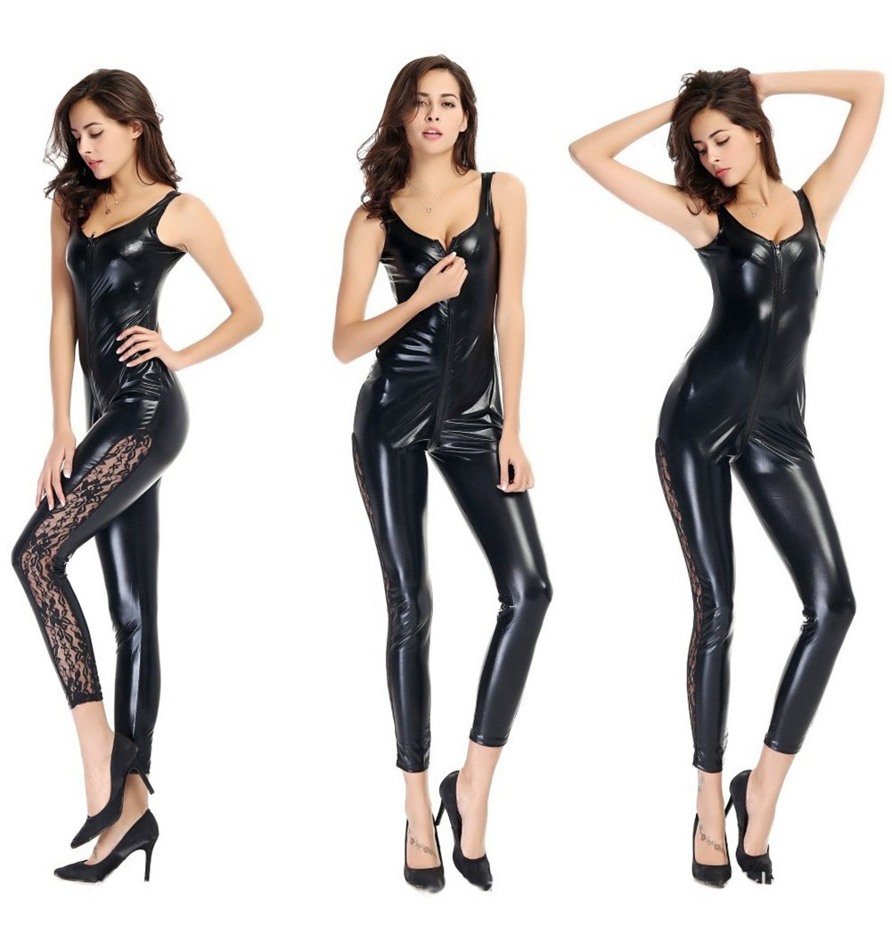 Gsaknc PVC ecopelle Cat donne Catsuit con apertura sul cavallo Body Wet look Bodycon punk Fetish tuta costume