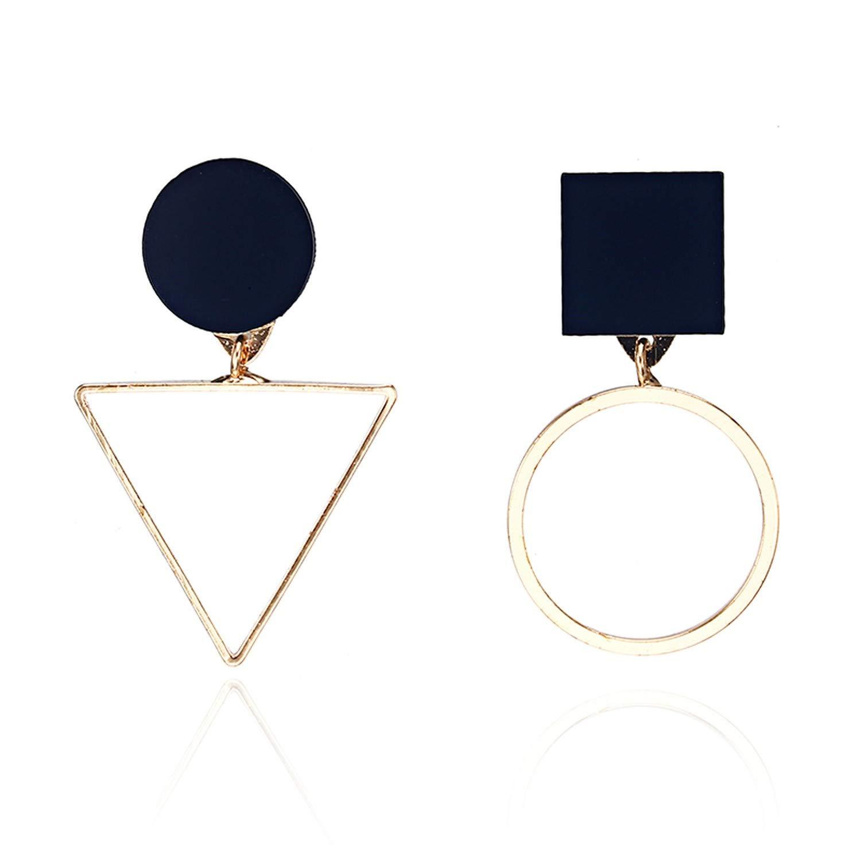 New Fashion Geometric Stud Earrings For Women Round Triangle Design Elegant Earrings For Birthday Wedding Gift Brincos,e019gold