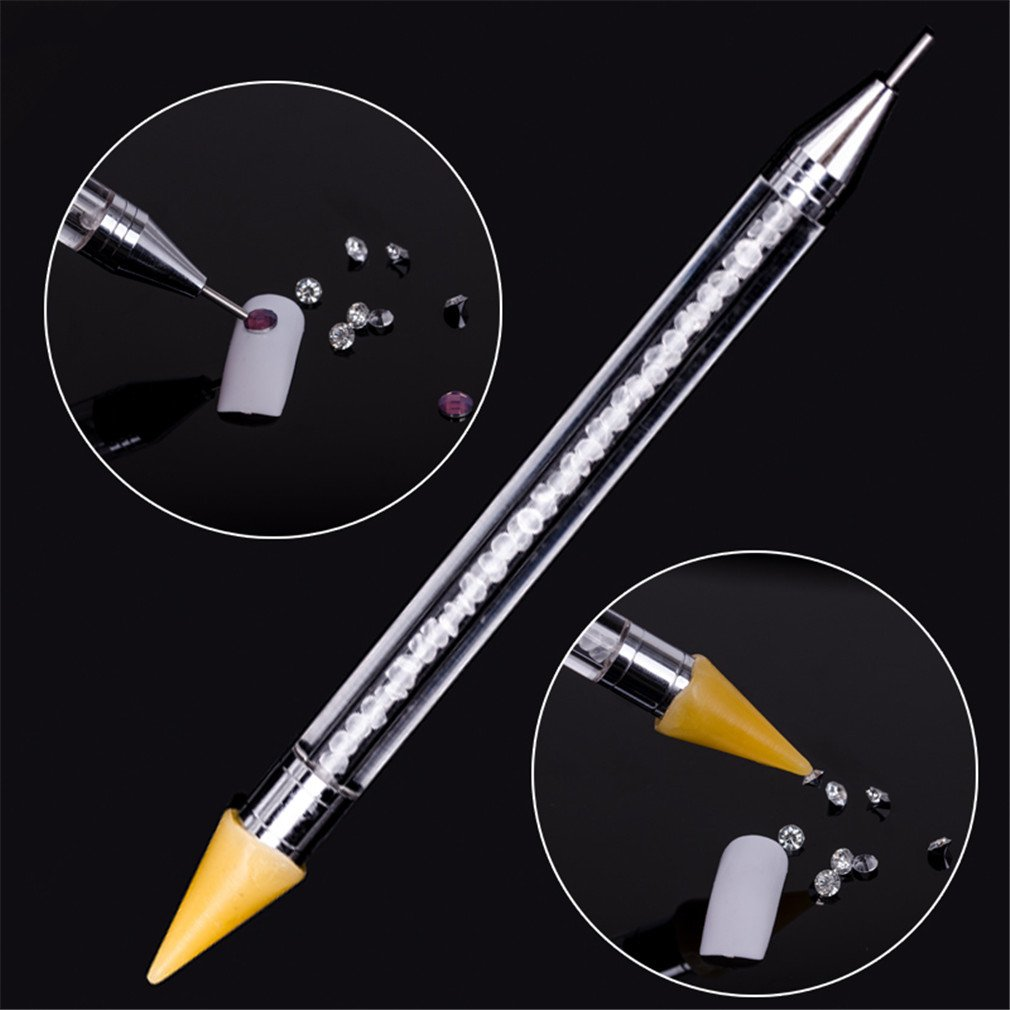 Dual-Ended Nail Art Wax Dotting Pen Picking Up Rhinestone Crystal Bead Gem Brush Self-Adhesive Tips Acrylic Gel Uv