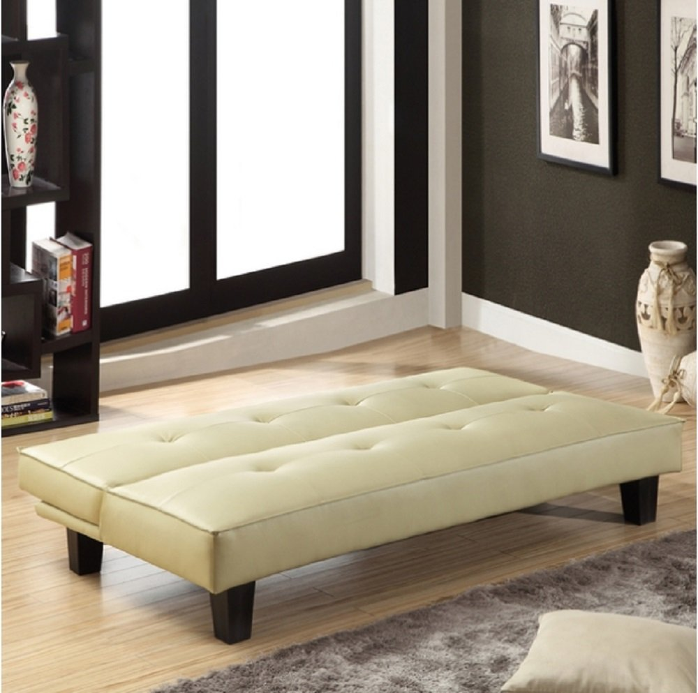 Amazon: Tribecca Home Bento Beige Faux Leather Modern Mini Futon Sofa  Bed, This Modern Futon Is Upholstered With High-quality Beige Faux Leather.