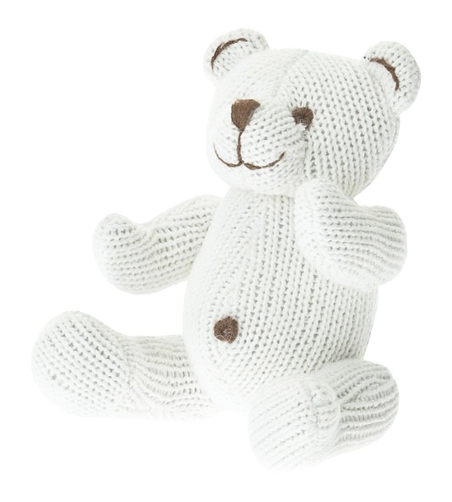 Beba Bean Knit Cotton Animal Rattle for Baby (Bear Ivory)