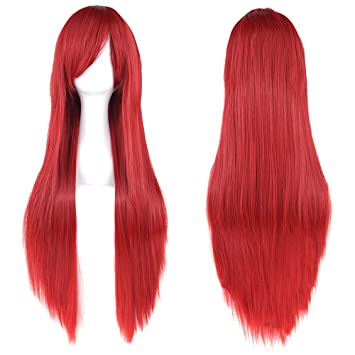 Fouriding 32 quot  Red Women s Long Straight Full Wigs Costume Synthetic  Hair Hairpieces with Oblique Bangs cb7beff11
