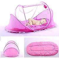 Lit Bébé, Berceau de voyage pliable, pour bébé avec Tente moustiquaire, Lit d'appoint léger avec matelas épais,1 kg, pour bébés de 0 à 3 ans