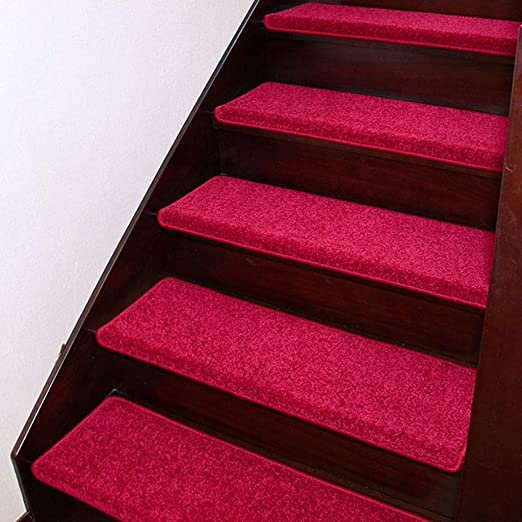 GOPG Alfombra Pisada de Escalera, Antideslizante 7 Conjunto Autoadhesivo Escalera Interior y Exterior para Perro Mascota Alfombra de Escalera-Rosa roja-100x24Cm(39x9Pulgada): Amazon.es: Hogar