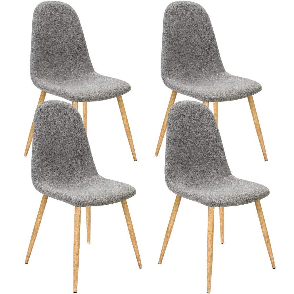 Deuba 4X Esszimmerstühle Design Stuhl Küchenstuhl • ergonomisch geformte Sitzschale • 120kg Belastbarkeit • Stuhlbeine mit Naturholzoptik • dunkelgrau
