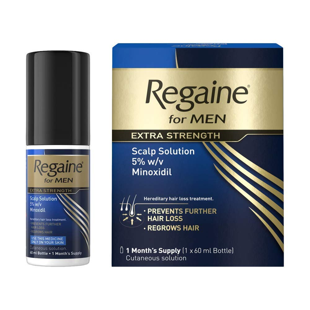 Regaine for Men Extra Strength Hair Loss & Regrowth Scalp Solution with Minoxidil, 60 ml, 1 Month Supply [Packaging May Vary]