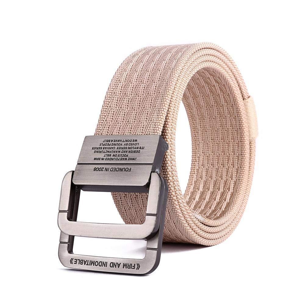 GoodKE Men Tactical Nylon Belt Fashion Alloy Double Ring Buckle Waistband Belts