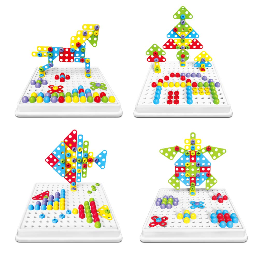 LBLA 4 en 1 Jeu de Construction 3D Design /& Drill Mosaique Puzzle Cr/éatifs,Jeu de Conception et de Perceuse Jouet Perceuse 189 PCS