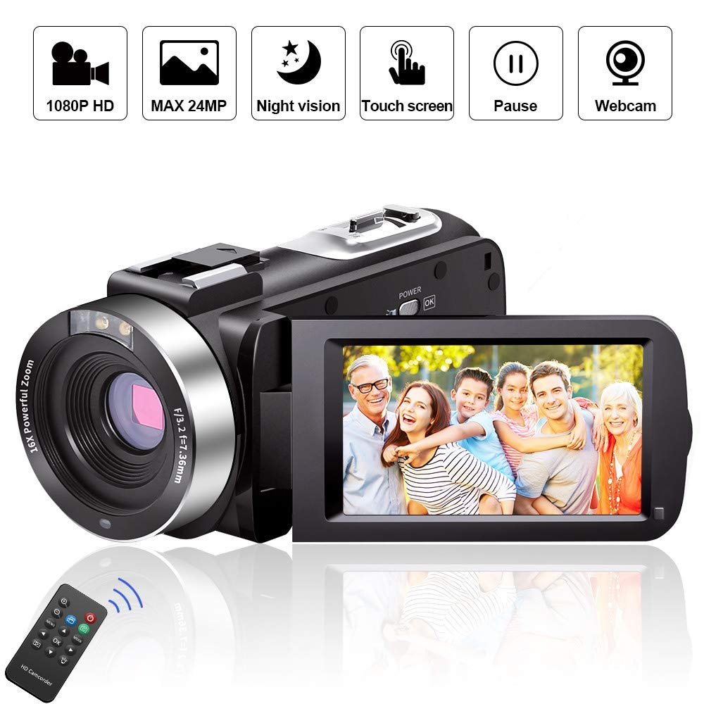 Standard Digital Camera Camcorders AOOE HD Recorder 1080P 24 MP 16X Video Camcorder 3.0 Inch LCD Stabilization with 270 Degree Rotation Screen Powerful Scalablity Camera Bag Lithium Battery
