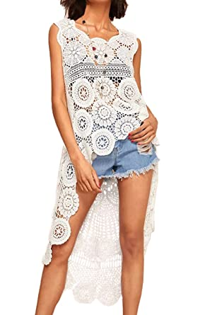 c4bf519eac Image Unavailable. Image not available for. Color: Women's Boho Crochet Beach  Cover Up Summer Lace Tank Top ...