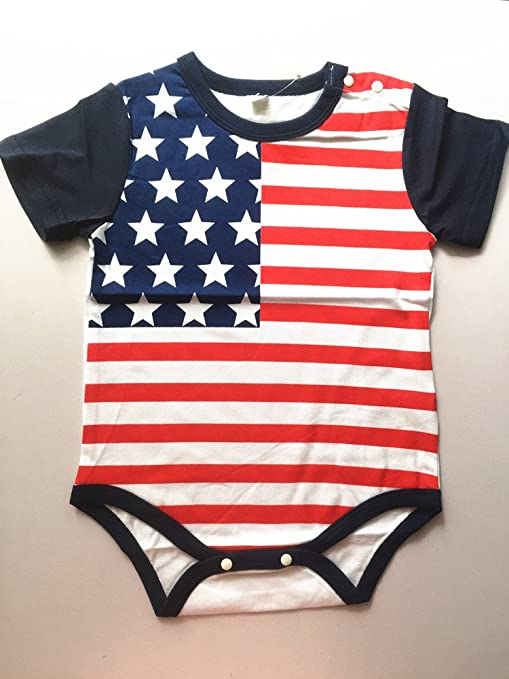 140f7790e1 Amazon.com  WINZIK 4th of July Baby Boy Girl Bodysuit Shirt Outfit American  Flag Romper Jumpsuit Infant Kids Patriotic Clothing  Clothing